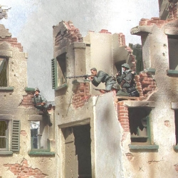 A selection of M38 Ruined Houses with 1/35th Verlinden Figures
