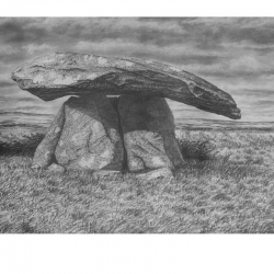 Chun Quoit , Cornwall.  Print from pencil drawing