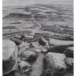 Descending Higger Tor Original pencil drawing and future print